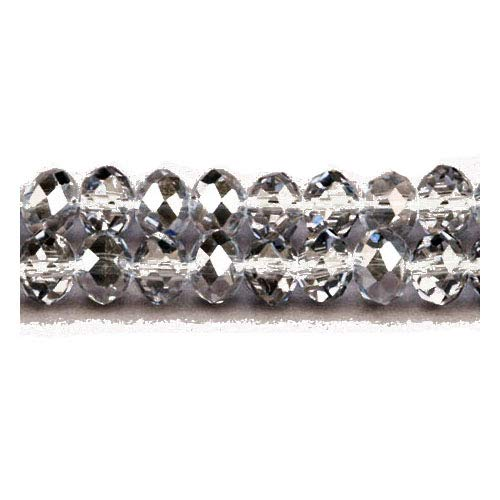 Faceted Rondelle Czech Glass Beads - Strand 70+ Grey Czech Crystal Glass 8 x 10mm Faceted Rondelle Beads GC3525-4 (Charming Beads)