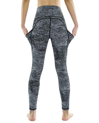 Dragon Fit High Waist Yoga Leggings with 3 Pockets,Tummy Control Workout Running 4 Way Stretch Yoga Pants (Small, Black&White Jacquard)