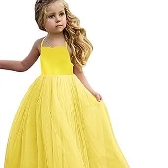 ❤️ Vestido Boda Fiesta Chica,Vestido de Niña Pequeña Princesa Starps con Estampado de Encaje Fiesta Vestidos de Tutú Vestidos Absolute (18 Meses, Amarillo)
