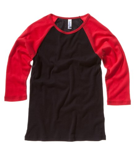 Bella Canvas Baby Rib 3/4 Sleeve Kontrast Raglan T-Shirt Gr. Small, Black / Red