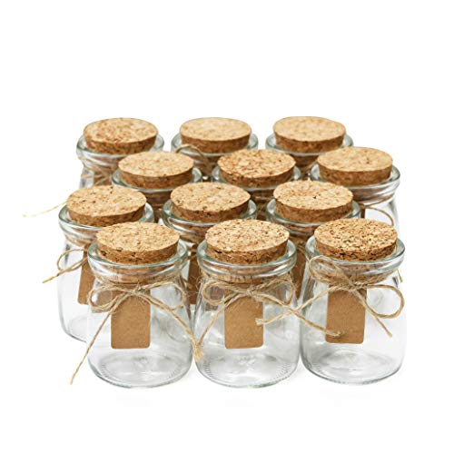Glass Favor Jars With Cork Lids - Mason Jar Wedding Favors Apothecary Jars Honey Pot Bottles With Personalized Label Tags and String - 3.4oz [12pc Bulk Set] Ideal For Spices, Candy and Candle Making ()