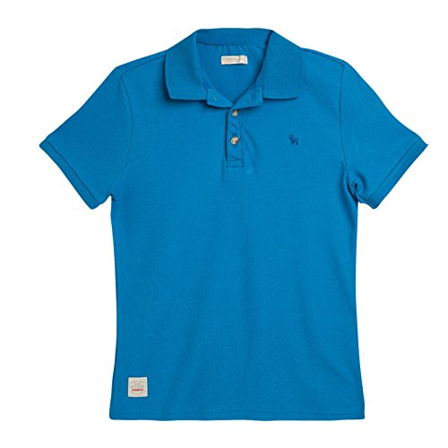 OFFCORSS Big Boy Teen Kid Polo Short Sleeve Solid Color Collared Cool Casual Button Up Cotton Sport T-Shirt Camiseta Manga Corta Niño Grande Blue 6