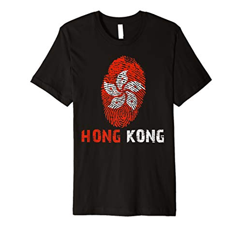 HONG KONG Finger Print Flag Tshirt I Love Travel Tee Premium T-Shirt