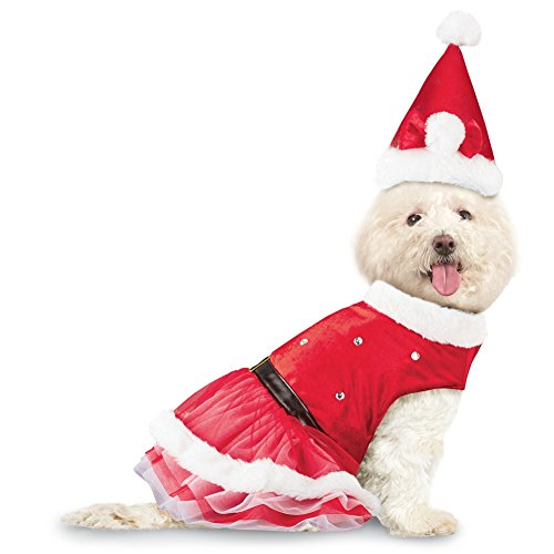 Collections Etc Mrs. Claus Christmas Dog Outfit with Santa Hat, Medium -