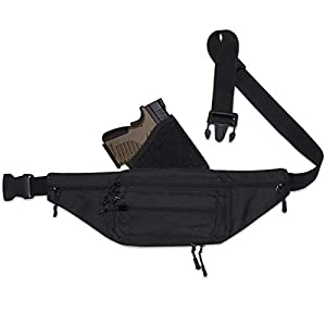 Fanny Pack Holster. Tactical Pistol Pack for Concealed Carry. This Black Nylon Fanny Pack for Guns has numerous Compartments with an Adjustable - Removable Holster