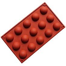 Allforhome 15-Cavity Mini Half Sphere Silicone Chocolate Candy Mold Cake Pans Biscuit Ice Cube Tray DIY Mould