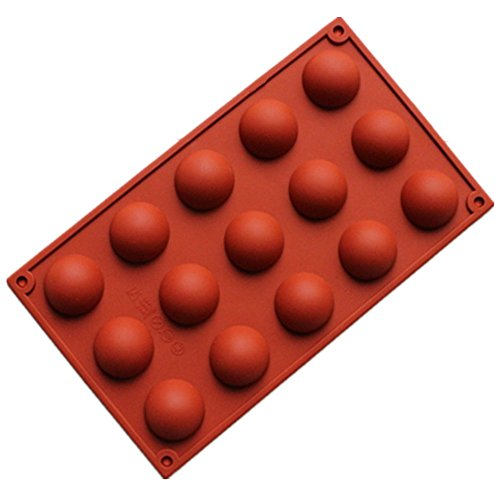 Allforhome 15 Cavity Mini Half ball Sphere Silicone Cake Baking Pans Candy Chocolate Mold Ice Cube Tray handmade Soap DIY Mold