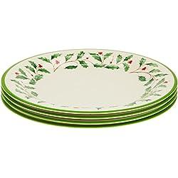 Lenox Holiday Melamine Dinner Plates (Set of 4), Ivory