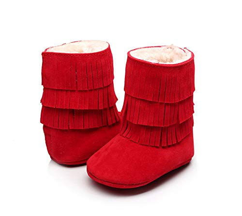 Infant Baby Girls Boys Tassel Warm Snow Boots Winter Anti-Slip Fur Lined Booties Outdoor
