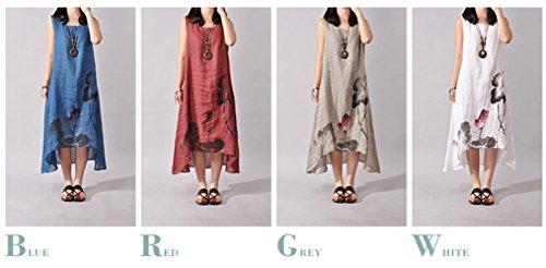 Coton Rond Irrgulier Manches Casual Encre sans Robes de Femmes de Fte Robe Lin Robe Col Plage Fashion Long Blanc Gala t Chic xSqaw5Y5