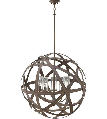 Outdoor Pendant 5 Light Fixtures with Vintage Iron Finish Metal Material Candelabra 27
