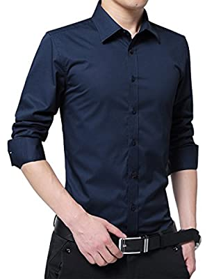 RubySports Men's Casual Long Sleeve Business Slim Fit Button Down Dress Shirts
