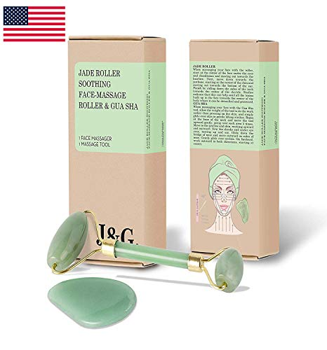 (Real Jade Roller for Face with Gua Sha Stone (2 pc. Set) Natural Slimming and Firming Anti-Aging Facial Massager and Collagen Booster 100% Real Natural Jade Facial Roller | Stimulate Blood Circulation)