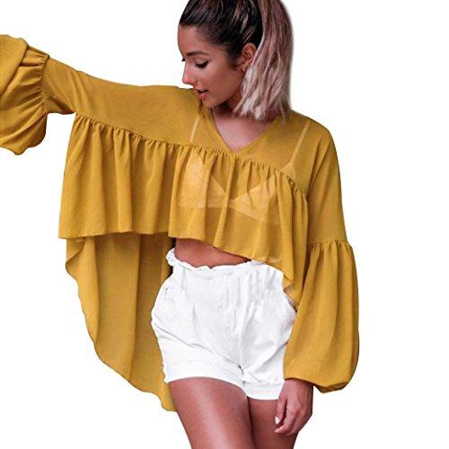 Tefamore Mujeres 2017 Casual & Moda La Sra gasa de manga larga chaqueta de gasa, blusa Amarillo