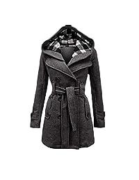 Abuyall Women's Military Hooded Fleece Belted Jacket Check Hood Coat