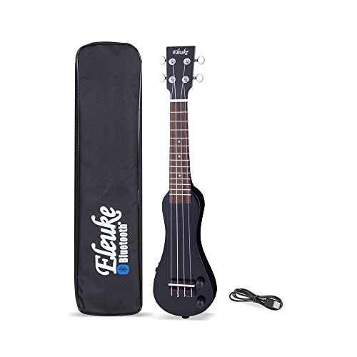(EleUke 22SPEBK Smart Bluetooth Connectable Electric Ukulele Peanut, Black)