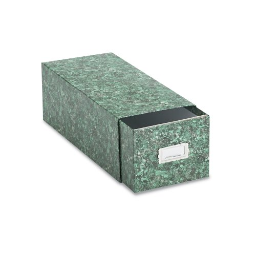 Oxford 39742 Reinforced Board 4 x6 Card File with Pull Drawer, Green Marble