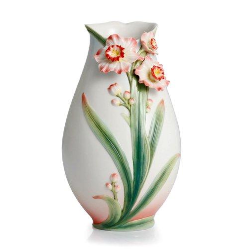 Franz Daffodil Design Sculptured Porcelain Small Vase 9 - Porcelain Sculptured Design Vase