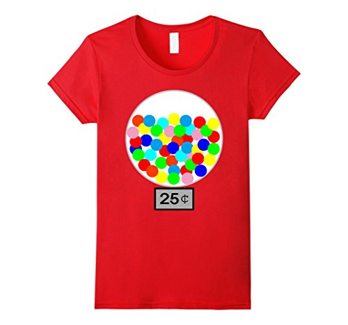 Womens Halloween Costume DIY Idea Gumball Machine Dispenser T Shirt Medium Red