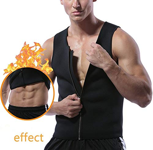 FitBelly Gear Sauna Vest for Men Size Medium Body Shaper with with Zipper- Made with Neoprene - Helps Sculpt Your abs and Weight Loss - Excellent for Running or Fitness Workout