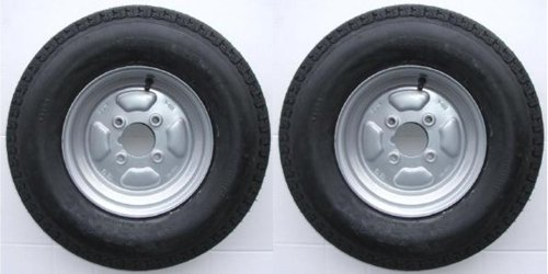 A pair of 500 x 10 inch trailer wheels and tyres with 4 ply tyre and 4 inch...