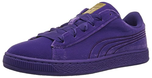(PUMA Girls' Basket Classic Velour Kids, Royal Purple-Metallic Gold, 6.5 M US Big)