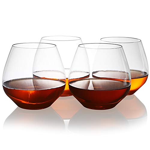 Unbreakable Elegant Plastic Stemless Wine Glasses 18oz, 4Pcs, Ideal For Cocktails & Scotch, Reusable Plastic Cup for Party, Bars and Outdoors by QHYK