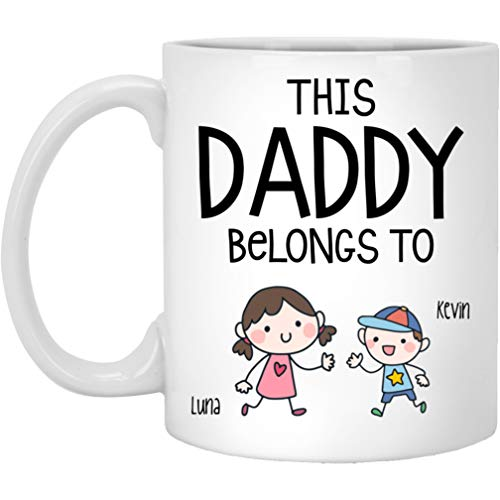 Personalized Daddys Girl - Dad Mug - Best Coffee Mug for Dad - Happy Fathers Day Funny Mug Gift - This Daddy belongs to Kids - Personalized Gifts to show your Love with Dad/Mom Customized 1-3 kids is Boy/Girl/Dog/Cat (2 Kids)