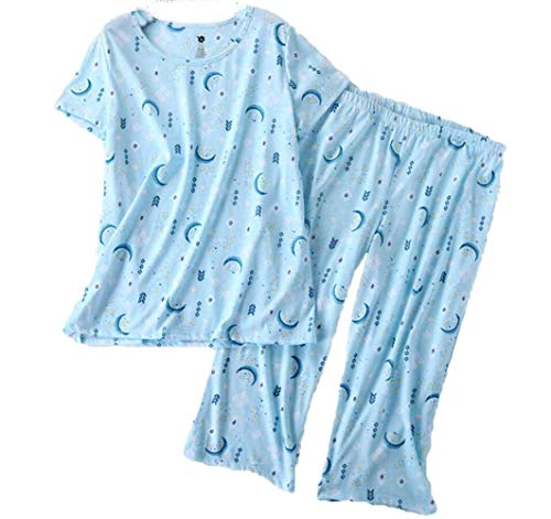 PNAEONG Women's Pajama Sets Capri Pants with Short Tops Cotton Sleepwear Ladies Sleep Sets SY215-Blue Moon-L ()