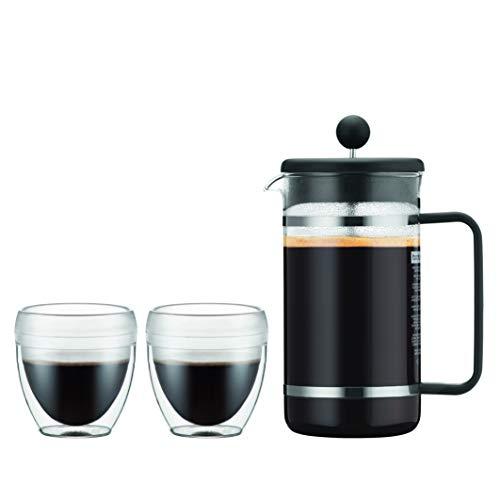 Bodum K1508-01SA-10 Bistro Set de 2 vasos PAVINA Outdoor 0.25 L + Cafetera de Pistón de plástico 8 tazas, 1 litro, negro