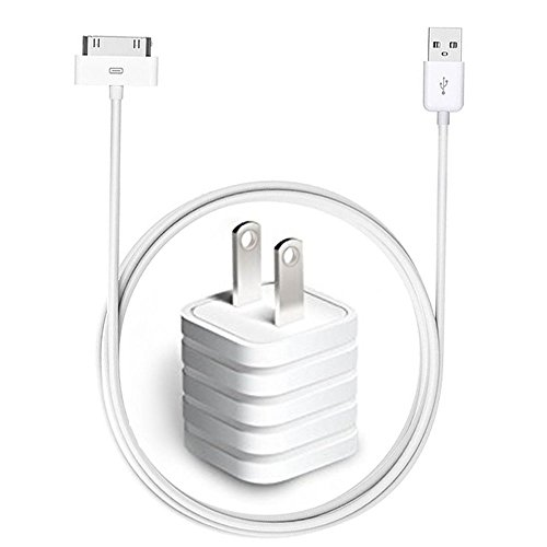 USB Charger, USB Wall Plug Adapter with 10ft USB 30 Pin Cable for iPhone 4/4s, iPhone...