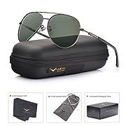 #LightningDeal 81% claimed: LUENX Mens Aviator Sunglasses Polarized :UV 400 Protection shades with case 60MM