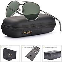 LUENX para hombre Aviator anteojos de sol polarizadas: pantallas de protección UV 400con Funda 60mm.