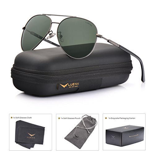LUENX Mens Womens Sunglasses Aviator Polarized Dark Green Lens Gun Metal Frame - UV 400 Protection 60mm - Polarized Glass Sunglasses Lens