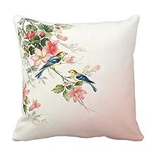 Cotton 20 X 20 Twin Sides Vintage Love Birds | Blush Pink White Throw Pillowcases