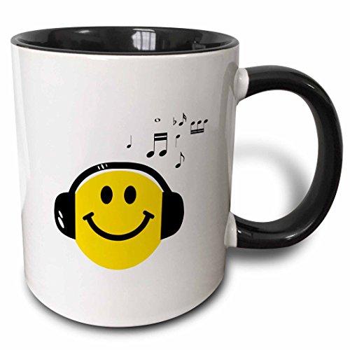 3dRose 3dRose Music loving yellow smiley face with black headphones and musical notes - happy dj - deejay - Two Tone Black Mug, 11oz (mug_112819_4), Black/White -