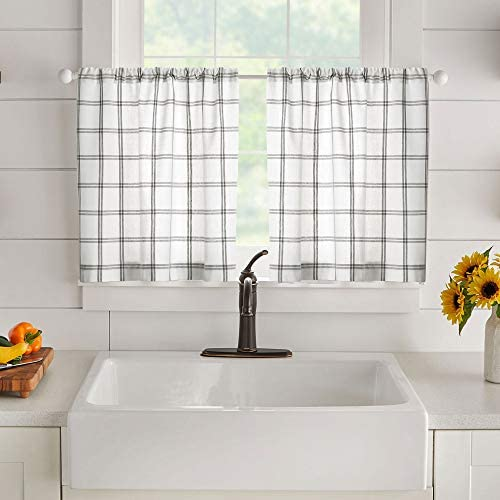 Elrene Home Fashions Farmhouse Living Double Windowpane Plaid Window Kitchen/Café and Bathroom Tier Set of 2, 30″x24″, White/Grey