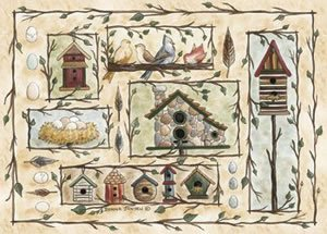 Custom Printed Rugs BIRD HOUSES Bird Houses Rug