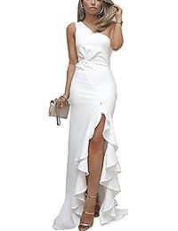 2018 Women's One Shoulder Split Bodycon Mermaid Evening Cocktail Long Dress