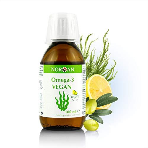 NORSAN Omega-3 VEGAN I 2.000 mg Omega-3 und 800 IE Vitamin D3 I 100% vegan I pflanzliches Algenöl I besonders reich an EPA & DHA I umweltschonend hergestellt I von Natur aus schadstoffarm