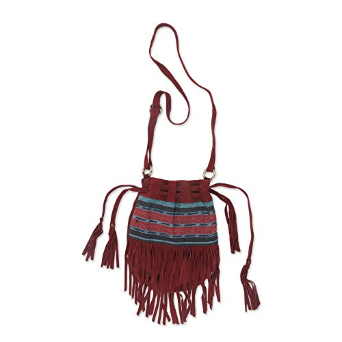 NOVICA Red Suede Shoulder...