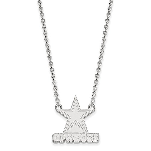 Sterling Silver Dallas Cowboys Large Pendant w/ Necklace