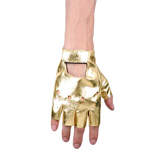- Agoky Men's Faux Leather Half Finger Driving Gloves Hollow Cut Out Hook Loop Mittens Costume Accessories Gold One Size