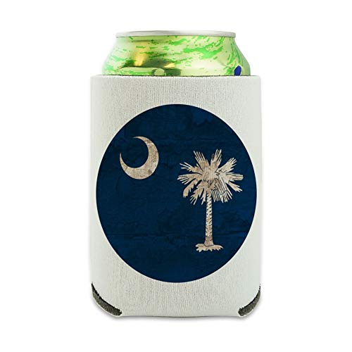 - Rustic South Carolina State Flag Distressed USA Can Cooler - Drink Sleeve Hugger Collapsible Insulator - Beverage Insulated Holder
