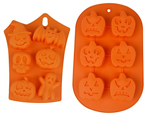 Lanyani 2-pack Halloween Pumpkin Face Ghost Soap Mold Silicone Backing Mold Cupcake Mold Muffin Pan Chocolate Pudding Mold