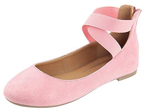 Cambridge Select Womens Closed Round Toe Stretch Elastic Crisscross Ankle Strap Back Zip Ballet Flat Mauve Imsu SdWsin3qb