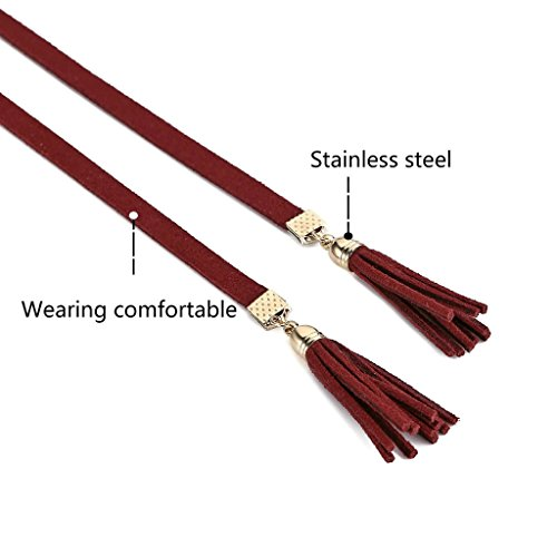 KnSam Ras du Cou Choker Collier Acier Inoxydable Velours Long Bow Tie Tassel Or Vin Rouge