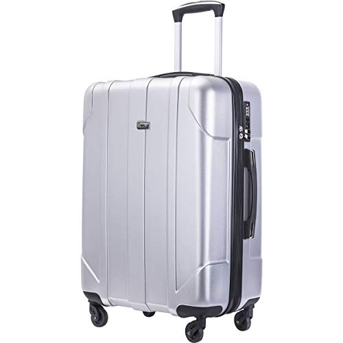 Lightweight Ultra Luggage Hardside - Merax Hardside Spinner Luggage with Built-in TSA Lock Lightweight Suitcase 20inch 24inch and 28 inch Available (Silver, 24-Checking in)