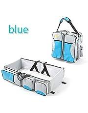 XJLLOVE Baby Travel Folding Crib Portable Multifunctional Large Capacity Mummy Bag Crib Bag, 3 in 1 Travel Diaper Bag Portable Bassinet/Changing Pad Station,1
