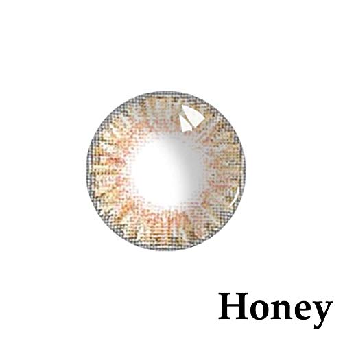 Women's multi-color cute charm and attractive color eye enhancer multi-color shadow, [Honey] the most natural eye color change - (1 Pair) (Crazy Color Contact Lenses)